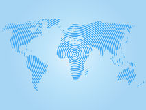 World map of blue concentric rings on white background. Worldwide communication radio waves concept Modern design vector. Wallpaper Royalty Free Stock Image