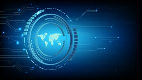 World map blue with concept of technology Stock Photos