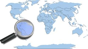 World map blue continents with South America magnified Stock Photo