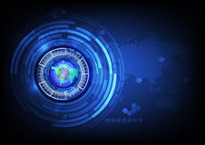 World map blue eye ball abstract cyber future technology concept Stock Photos