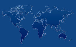 World Map Blue Glass Background. Clean background for every presentation, high resolution, perfect detail work Royalty Free Stock Photo