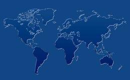 World Map Blue Glass Background Royalty Free Stock Photo