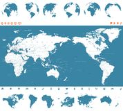 World Map Blue and Globes - Asia in Center.  Royalty Free Illustration