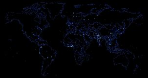 World map blue gradient led pixel, on off effect movement on black, business and communication. World map blue gradient led pixel, on off effect movement on stock video