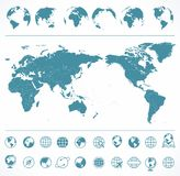 World Map Blue Green and Globes - Asia in Center royalty free illustration
