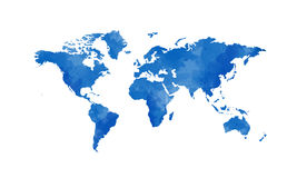 World map. Blue world map illustration with white background Stock Photo