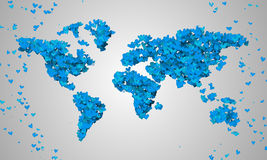 World Map Blue Love Shape Particles Royalty Free Stock Photo