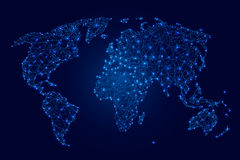 World map of blue luminous polygons, points and stars on  dark background  illustration Stock Images