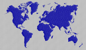 World map. Blue and metal backgroud world map Royalty Free Stock Photography