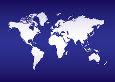 World map blue ocean Stock Image