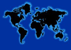 World map with blue ocean Vector Stock Image