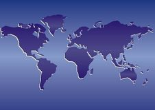 World blue map  Stock Images