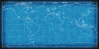 World Map Blue Print. 2D rendered image of world map Royalty Free Stock Image