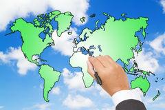 world map  on blue sky Stock Image