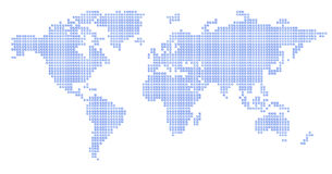 World map: blue square - puzzle. Square regular puzzle map, accurate Stock Images