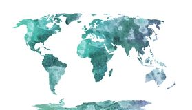 World map blue watercolor pattern, high detailed Royalty Free Stock Image