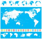 World Map Blue White and Globes - Asia in Center Royalty Free Stock Images