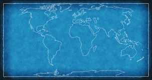 World map on blueprint. Royalty Free Stock Photos