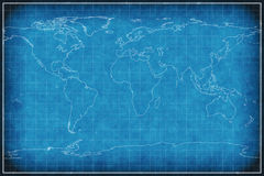 World map on blueprint. Stock Photo