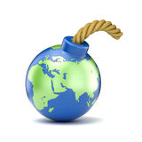 World map on bomb. 3D illustration Royalty Free Stock Photography