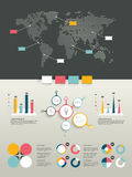 World map and brand elements. Infographics. Infographics set. World map and brand elements royalty free illustration