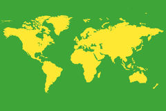 World Map Brazil Theme. The world map presented in a Brazillian Theme Stock Image