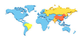 World map of BRIC. 3d map of the fast growing developing economies of Brazil, Russia, India, and China, known as BRIC Stock Image