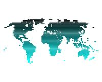 World map of broad lines. And a turquoise gradient Vector Illustration