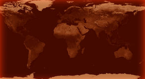 World map with Brown glow color Stock Images