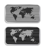 World map on brushed metal app icons Royalty Free Stock Images