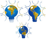 World map in bulb shape Stock Images