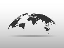 World map bulging in a shape of globe. Abstract design 3D map with dropped shadow.  stock illustration