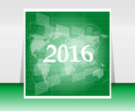 World map on business digital touch screen, happy new year 2016 concept Stock Photography