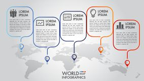 World map business infographics 5 step options vector illustration and design template with pointer marks. royalty free stock photo