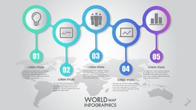 World map business infographics 5 step options vector illustration and design template with pointer marks. stock photos