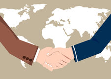 World Map Business Success  handshake. Vector concept  handshake businessmen deal and partnership in world map Royalty Free Stock Photo
