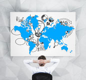 World map and business symbol Royalty Free Stock Photography