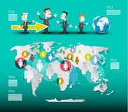 World Map with Businessmen Vector Stock Images