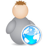 World map button Stock Photo