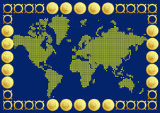 World Map with  20 Buttons Currency Royalty Free Stock Images