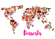 World map of cake, cupcake, donut, candy desserts Royalty Free Stock Photos