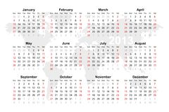 World map calendar for 2013 Royalty Free Stock Photography