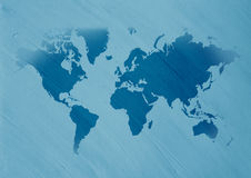 World map on Canvas design. World map on a blue canvas Stock Images