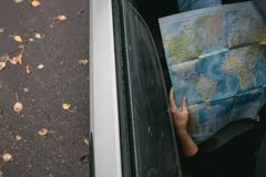 World map in the car Royalty Free Stock Image