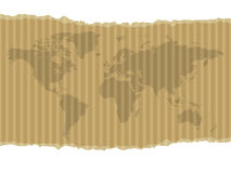 World map on cardboard Stock Photo