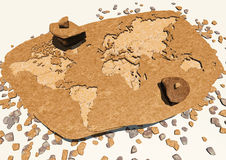 World map carved in the rock. fossil Stock Photography