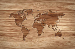World map carved in wood Royalty Free Stock Images