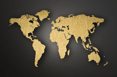 World Map Carving On Wood Plank Royalty Free Stock Photography