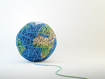 World map cball of wool. Clew of wool forming a world globe Royalty Free Stock Photography