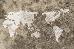 World map on cement wall Stock Image